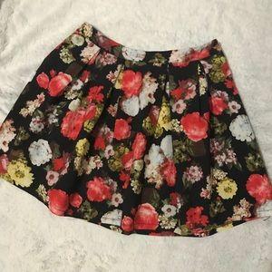 Floral Skater Mini Skirt
